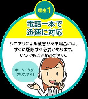 電話一本で迅速に対応 シロアリによる被害がある場合には、すぐに駆除する必要があります。いつでもご連絡ください。