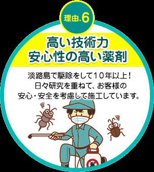 高い技術力安心性の高い薬剤 淡路島で駆除をして10年以上!日々研究を重ねて、お客様の安心・安全を考慮して施工しています。